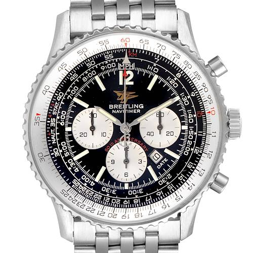 Breitling Navitimer 50th Anniversary Black Dial Watch A41322 Box Papers
