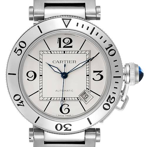 Photo of Cartier Pasha Seatimer Stainless Steel Silver Dial Mens Watch W31080M7