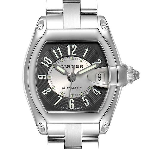 Cartier Roadster Gray Silver Tuxedo Dial Steel Mens Watch W62001V3