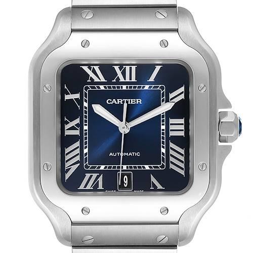Photo of Cartier Santos 100 XL Blue Dial Steel Mens Watch WSSA0013 Box Papers