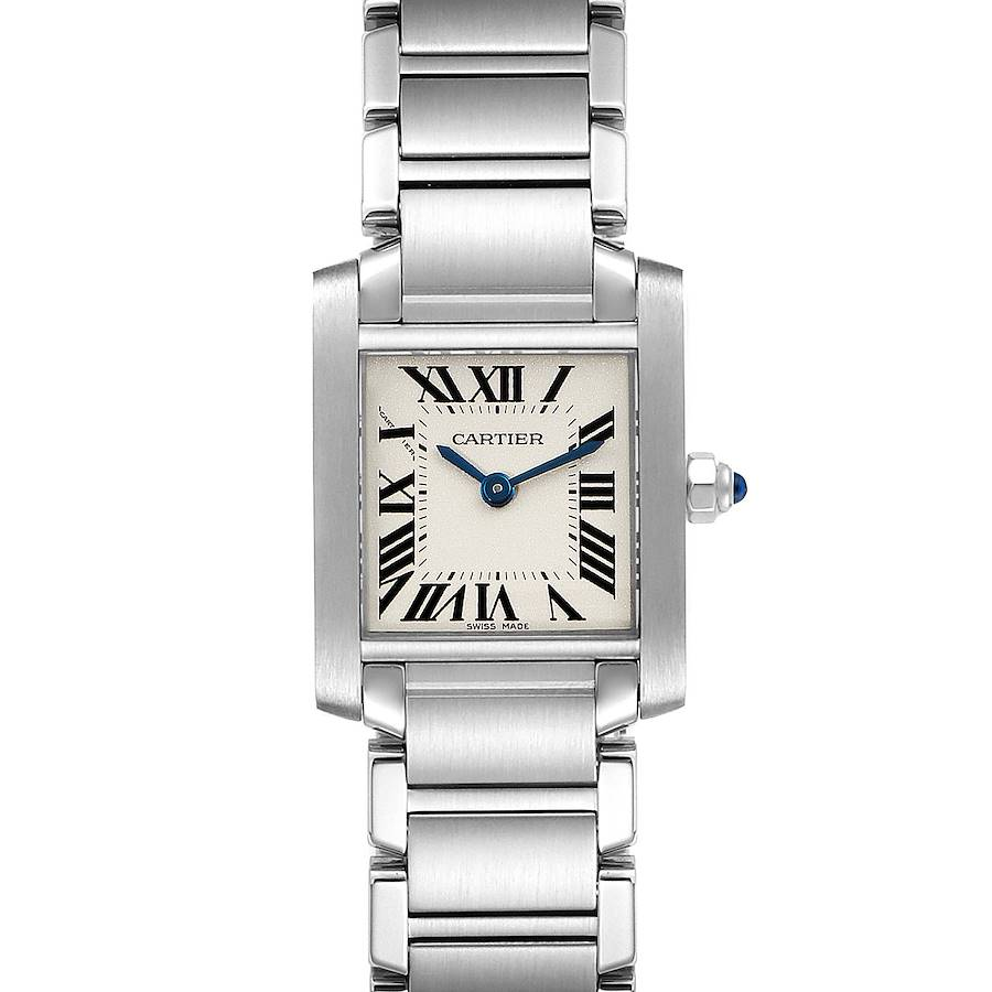 Cartier Tank Francaise Blue Hands Ladies Watch W51008Q3 Box Papers SwissWatchExpo