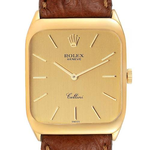 Photo of Rolex Cellini 18k Yellow Gold Brown Strap Mens Vintage Watch 4135