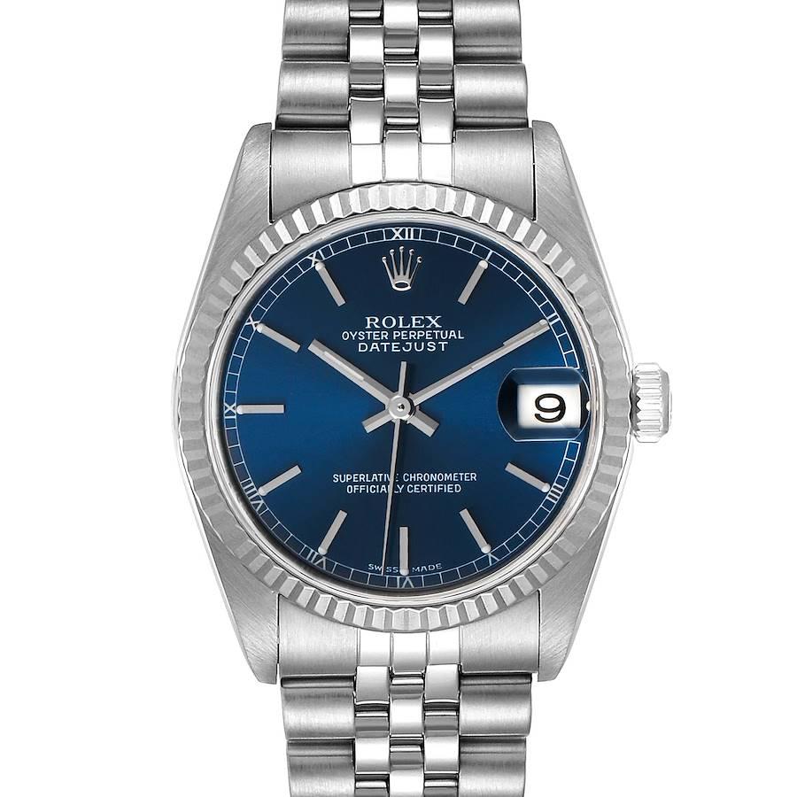 Rolex Datejust Midsize Steel White Gold Blue Dial Ladies Watch 78274 SwissWatchExpo