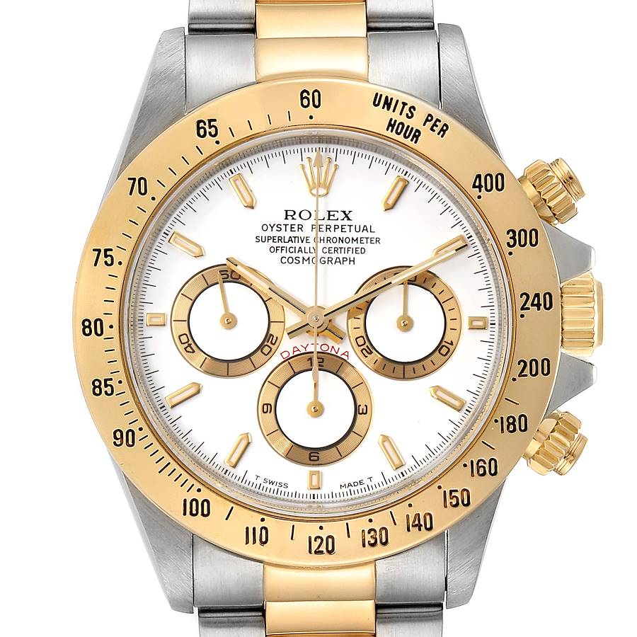Rolex Daytona Steel Yellow Gold White Dial Mens Watch 16523 SwissWatchExpo