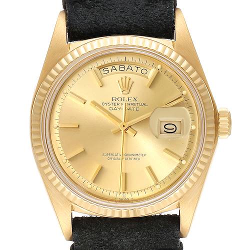 Photo of Rolex President Day-Date Yellow Gold Black Strap Vintage Mens Watch 1803