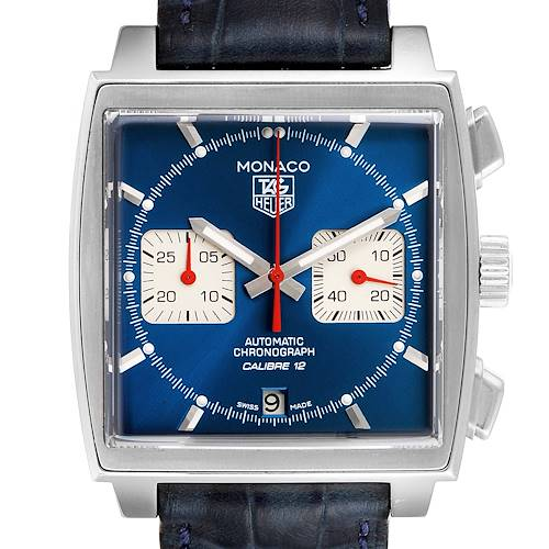 Photo of Tag Heuer Monaco Calibre 12 Blue Dial Black Strap Mens Watch CAW2111