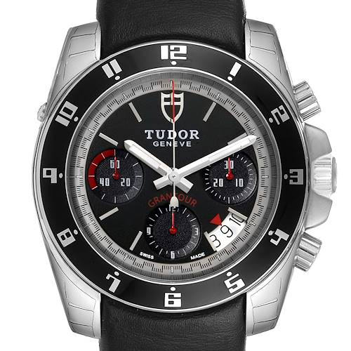 Photo of Tudor Grantour Black Dial Chronograph Steel Mens Watch 20350N
