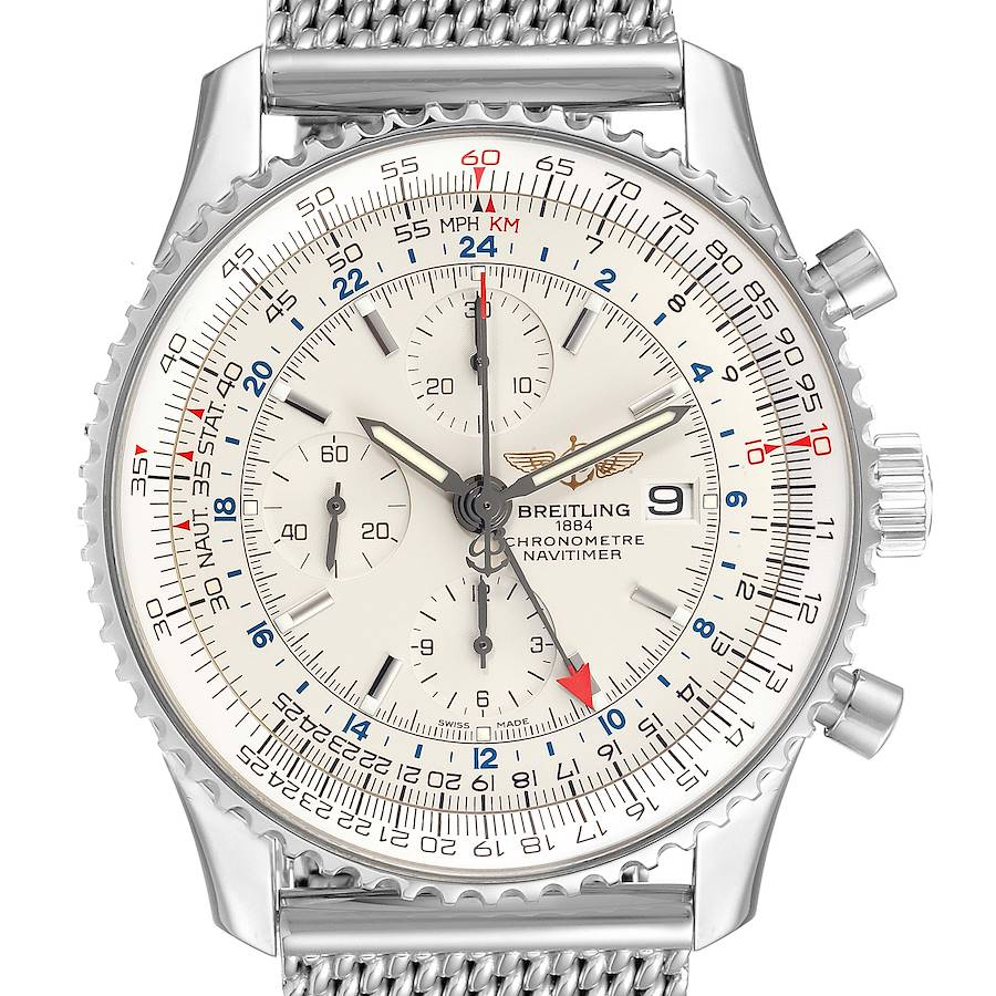 Breitling Navitimer World Silver Dial Steel Watch A24322 Box Papers SwissWatchExpo