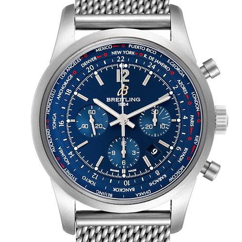 Photo of Breitling Transocean Chronograph Blue Dial Steel Watch AB0510 Box Papers