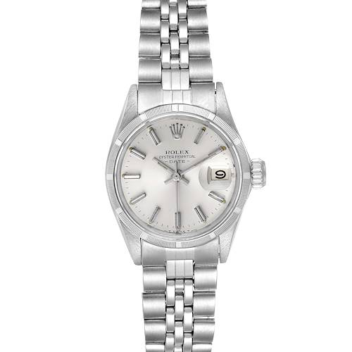 Photo of Rolex Date Silver Baton Dial Automatic Steel Ladies Watch 6519