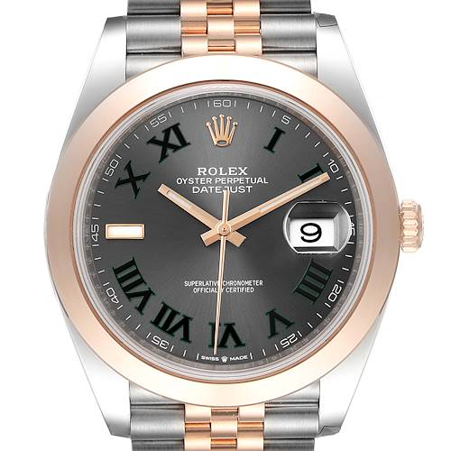 Photo of Rolex Datejust 41 Steel Rose Gold Grey Green Dial Mens Watch 126301 Unworn