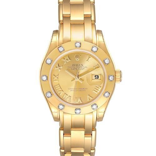 Photo of Rolex Pearlmaster 18k Yellow Gold Roman Diamond Ladies Watch 80318 Unworn