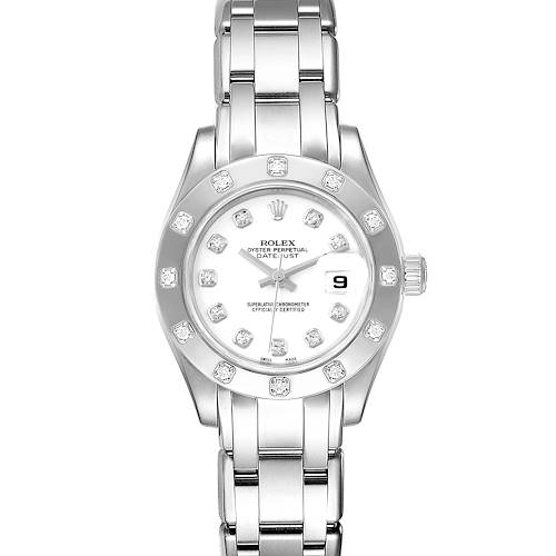 Photo of Rolex Pearlmaster White Gold White Dial Diamond Ladies Watch 80319