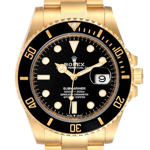 Photo of Rolex Submariner 18k Yellow Gold Black Dial Bezel Mens Watch 126618