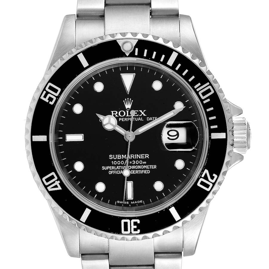 Rolex Submariner Black Dial Stainless Steel Mens Watch 16610 SwissWatchExpo