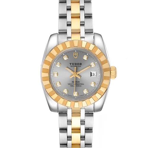 Photo of Tudor Classic Date Steel Yellow Gold Diamond Ladies Watch 22013 Unworn