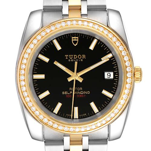 Photo of Tudor Classic Date Steel Yellow Gold Diamond Mens Watch 21023 Unworn