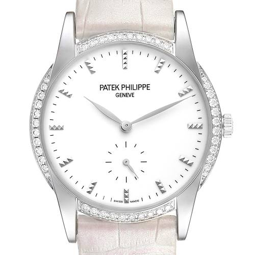 Patek Philippe Calatrava 18k White Gold Diamond Ladies Watch 7122