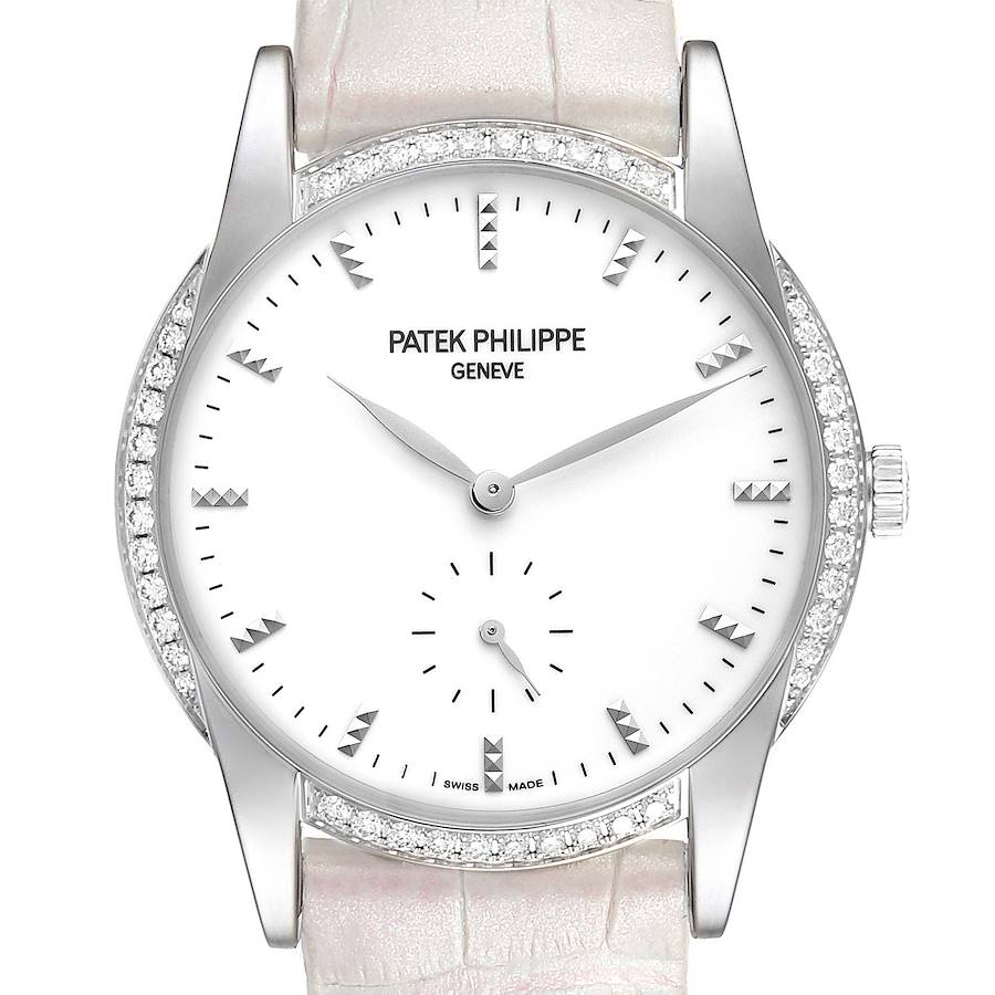 Patek Philippe Calatrava 18k White Gold Diamond Ladies Watch 7122 SwissWatchExpo