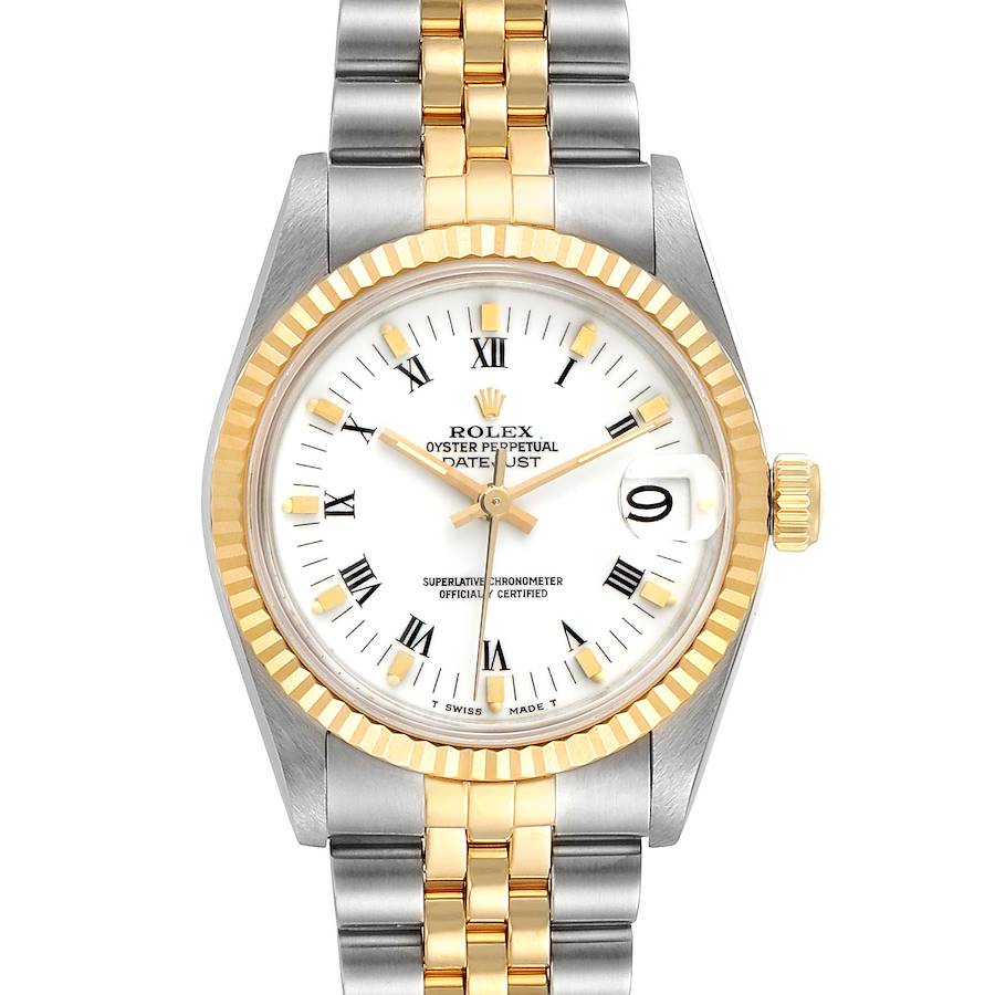 Rolex Datejust Midsize 31 White Dial Steel Yellow Gold Ladies Watch 68273 SwissWatchExpo