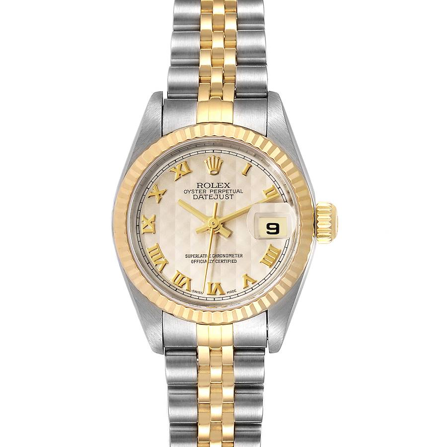 Rolex Datejust Steel Yellow Gold Pyramid Dial Ladies Watch 79173 Papers SwissWatchExpo