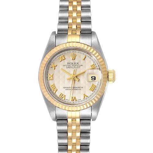 Photo of Rolex Datejust Steel Yellow Gold Pyramid Dial Ladies Watch 79173 Papers