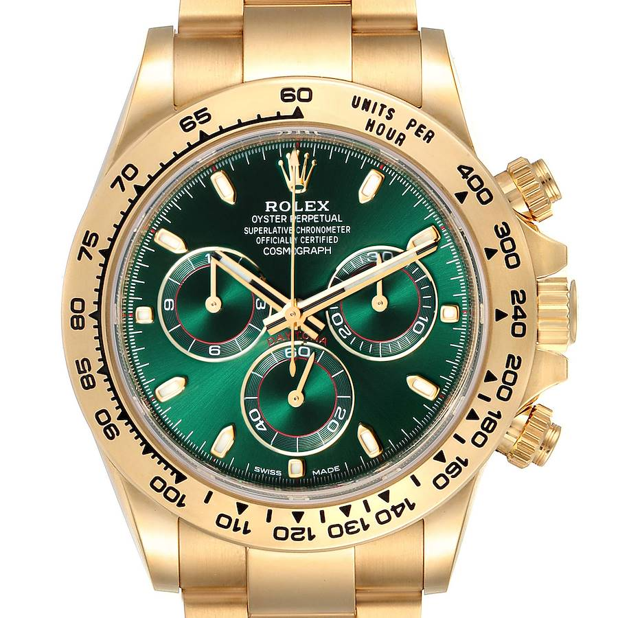 Rolex Daytona Yellow Gold Green Dial Mens Watch 116508 Box Card SwissWatchExpo