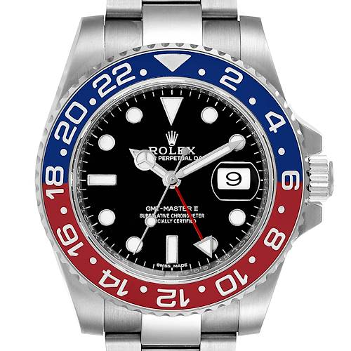 Photo of Rolex GMT Master II White Gold Pepsi Bezel Mens Watch 116719 Box Card