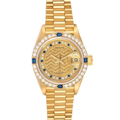 Photo of Rolex President Datejust Yellow Gold Diamond Sapphire Ladies Watch 69088