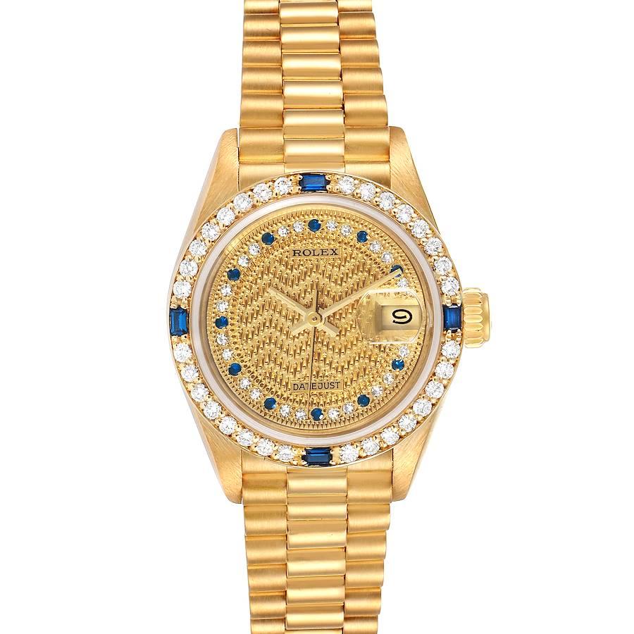 Rolex President Datejust Yellow Gold Diamond Sapphire Ladies Watch 69088 SwissWatchExpo