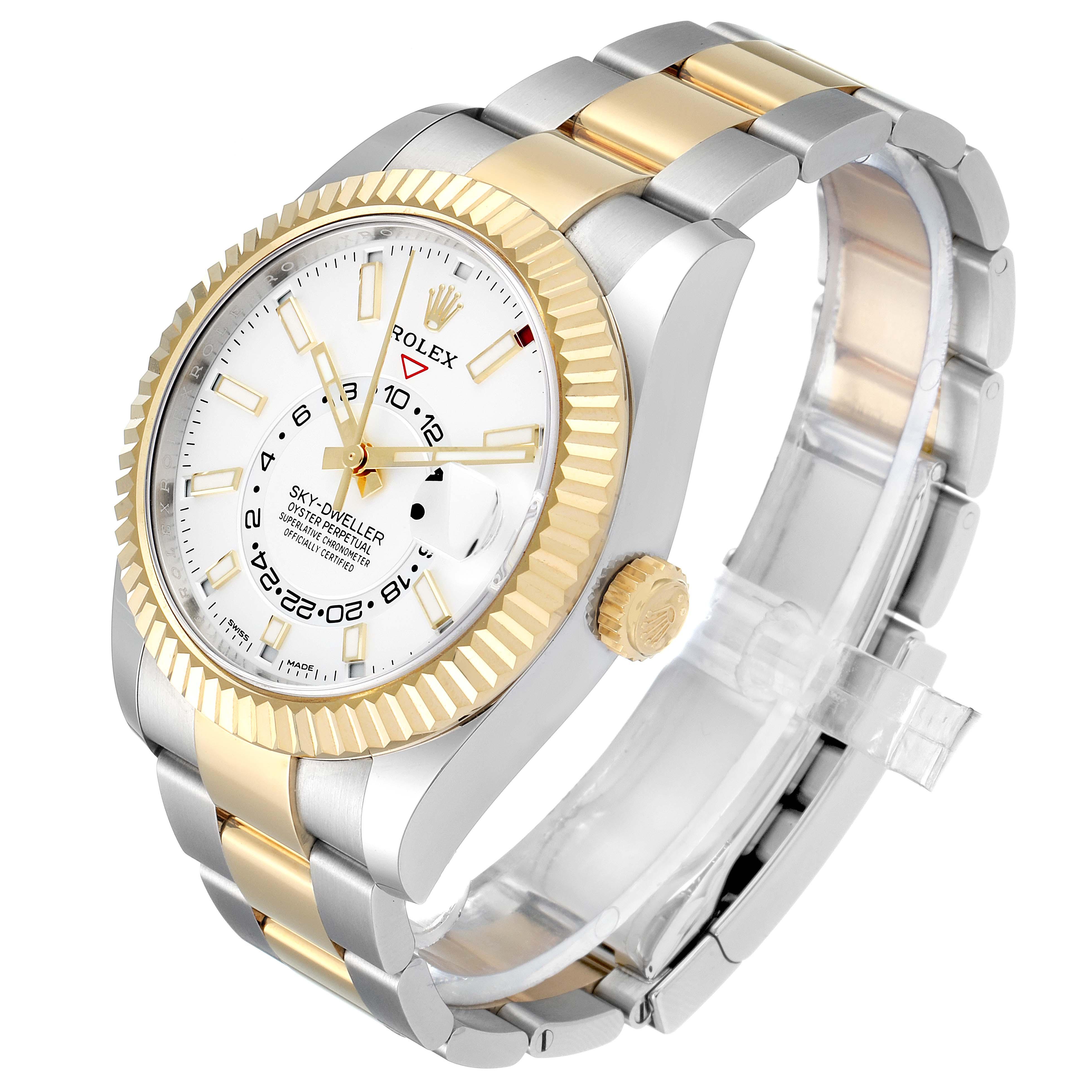 Rolex Sky Dweller Yellow Gold Steel White Dial Mens Watch 326933 Box Card SwissWatchExpo