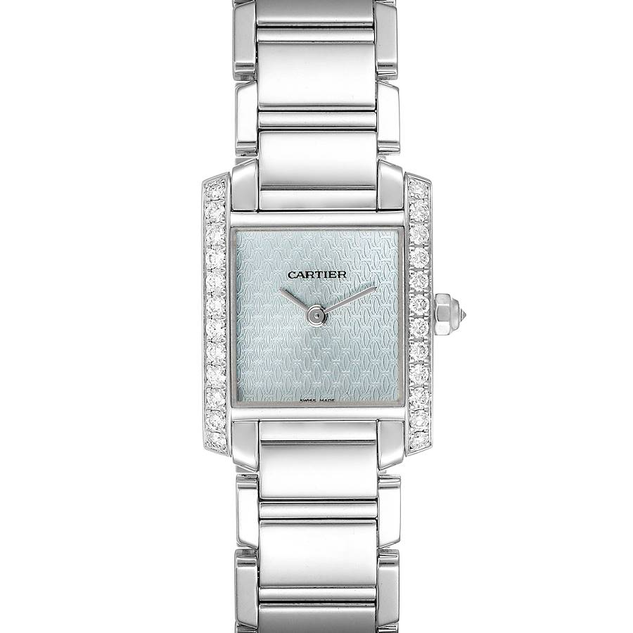 Cartier Tank Francaise White Gold Blue Dial Diamond Ladies Watch 2403 SwissWatchExpo