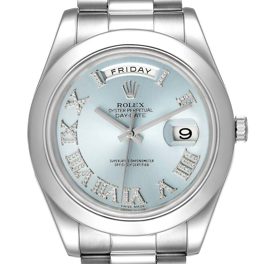 Rolex President Day-Date 41 Blue Diamond Dial Platinum Watch 218206 Box Card SwissWatchExpo