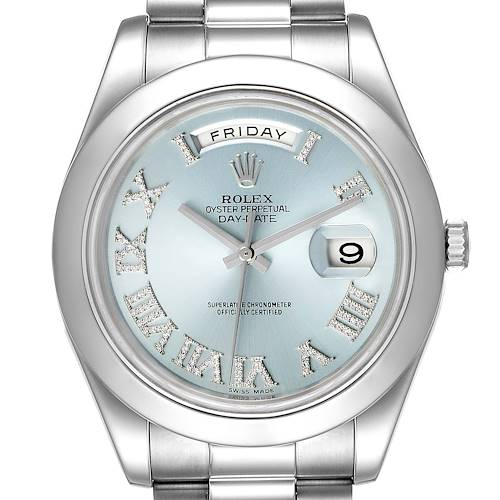 Photo of Rolex President Day-Date 41 Blue Diamond Dial Platinum Watch 218206 Box Card
