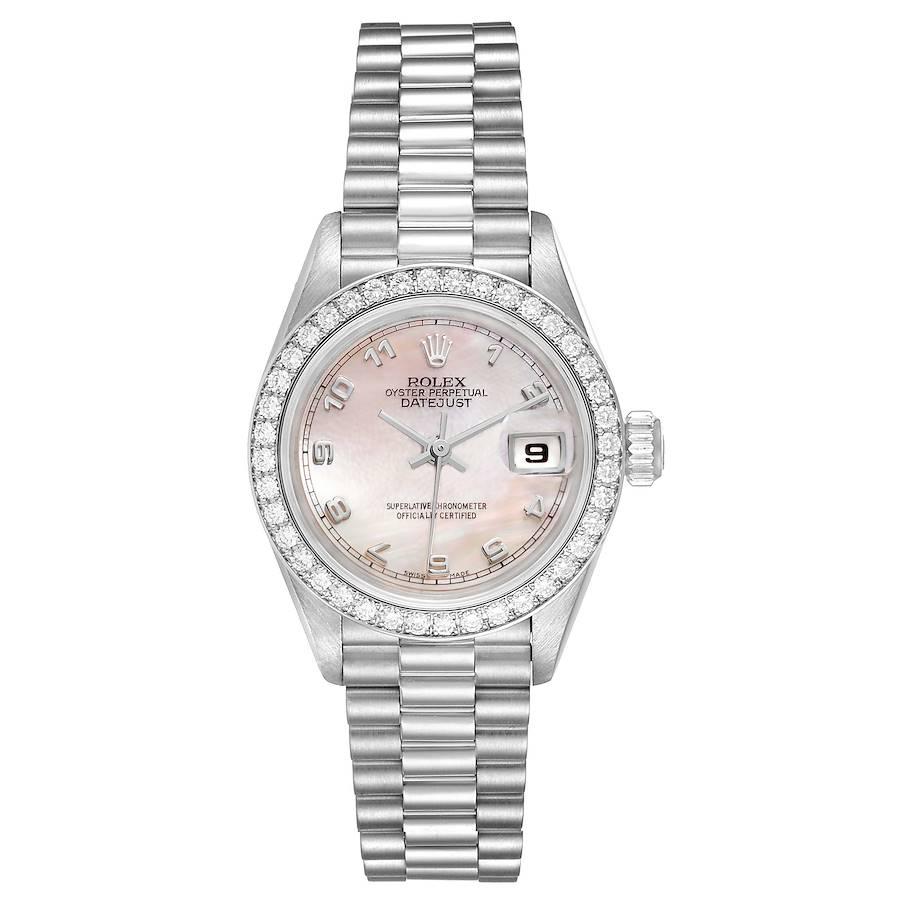 Rolex President Platinum MOP Dial Diamond Ladies Watch 69136 Papers SwissWatchExpo