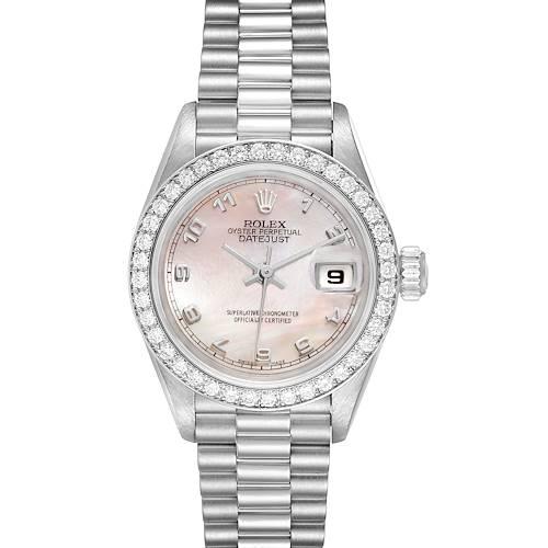 Photo of Rolex President Platinum MOP Dial Diamond Ladies Watch 69136 Papers