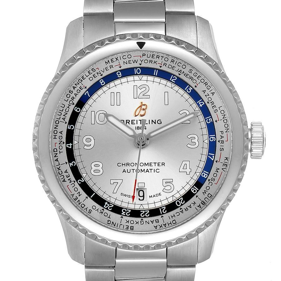 Breitling Aviator 8 Unitime Stainless Steel Mens Watch AB3521 Unworn SwissWatchExpo
