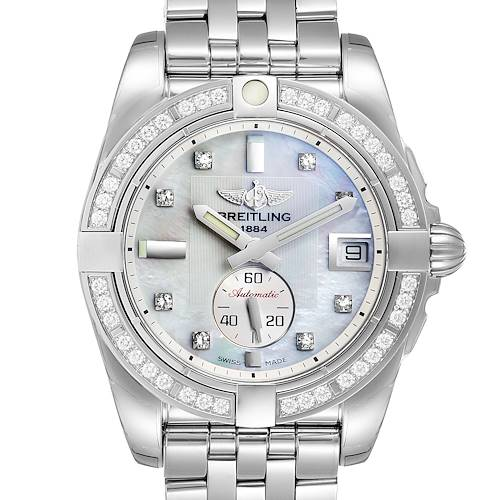 Breitling Galactic 36 MOP Diamond Steel Ladies Watch A37330 Unworn