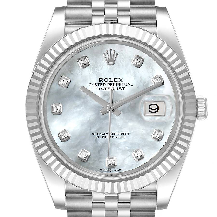 Rolex Datejust 41 Steel White Gold MOP Diamond Mens Watch 126334 Box Card SwissWatchExpo
