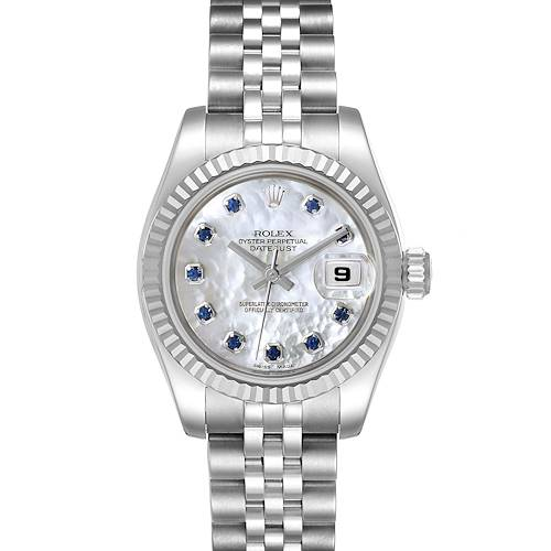 Photo of Rolex Datejust Steel White Gold MOP Saphire Ladies Watch 179174
