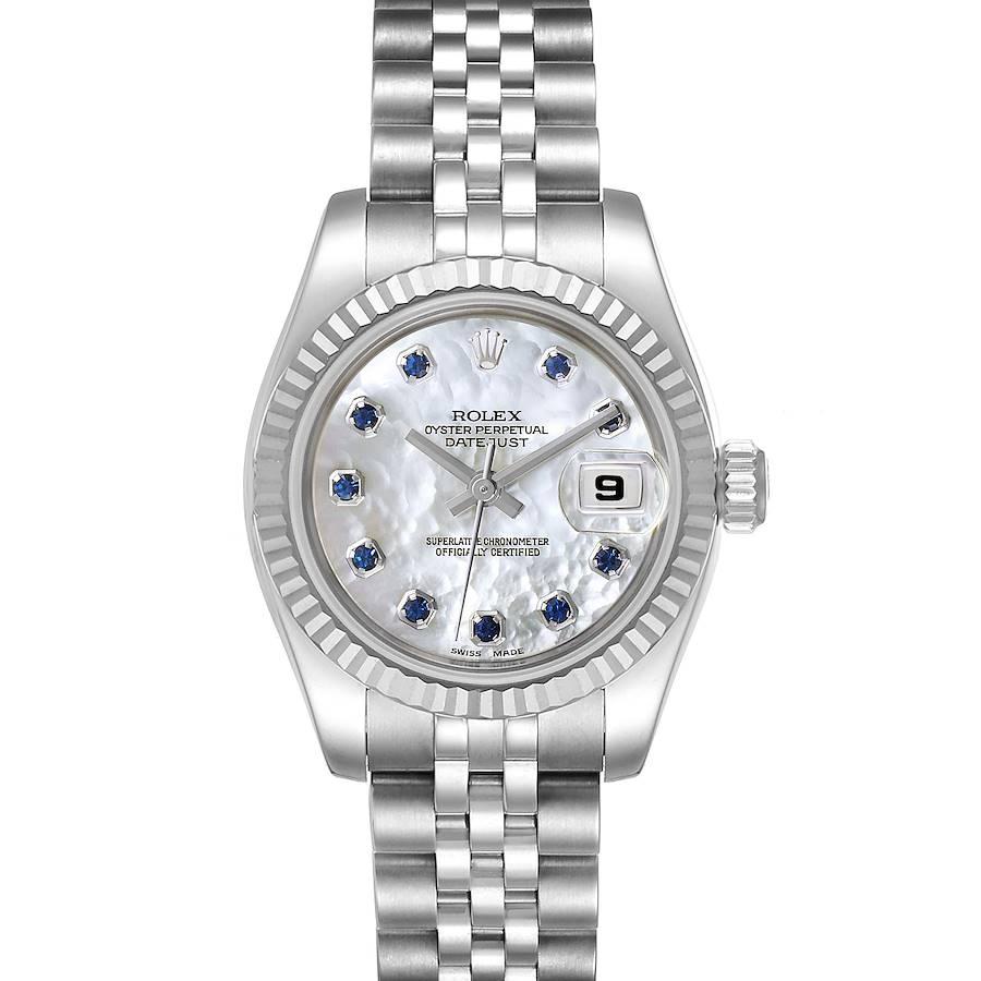 Rolex Datejust Steel White Gold MOP Saphire Ladies Watch 179174 SwissWatchExpo