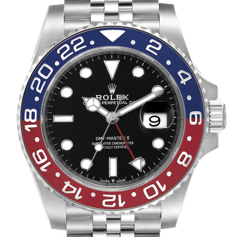 Rolex GMT Master II Pepsi Bezel Jubilee Steel Watch 126710 Box Papers SwissWatchExpo