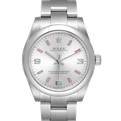 Photo of Rolex Midsize Silver Dial Pink Hour Markers Ladies Watch 177200