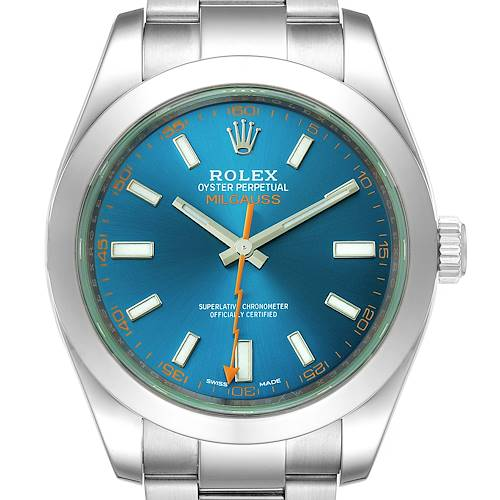 Rolex Milgauss Blue Dial Green Crystal Mens Watch 116400GV Box Card