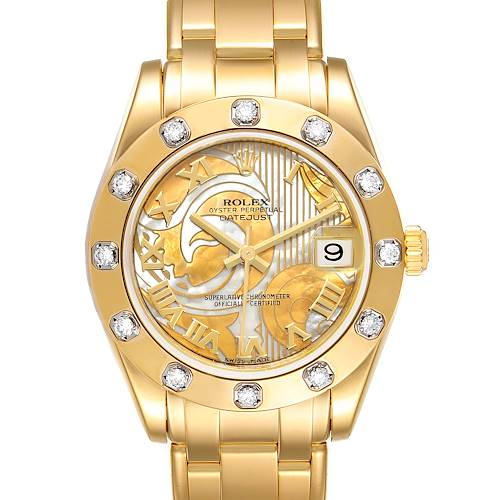 Photo of Rolex Pearlmaster Midsize Yellow Gold Goldust Dream MOP Diamond Watch 81318