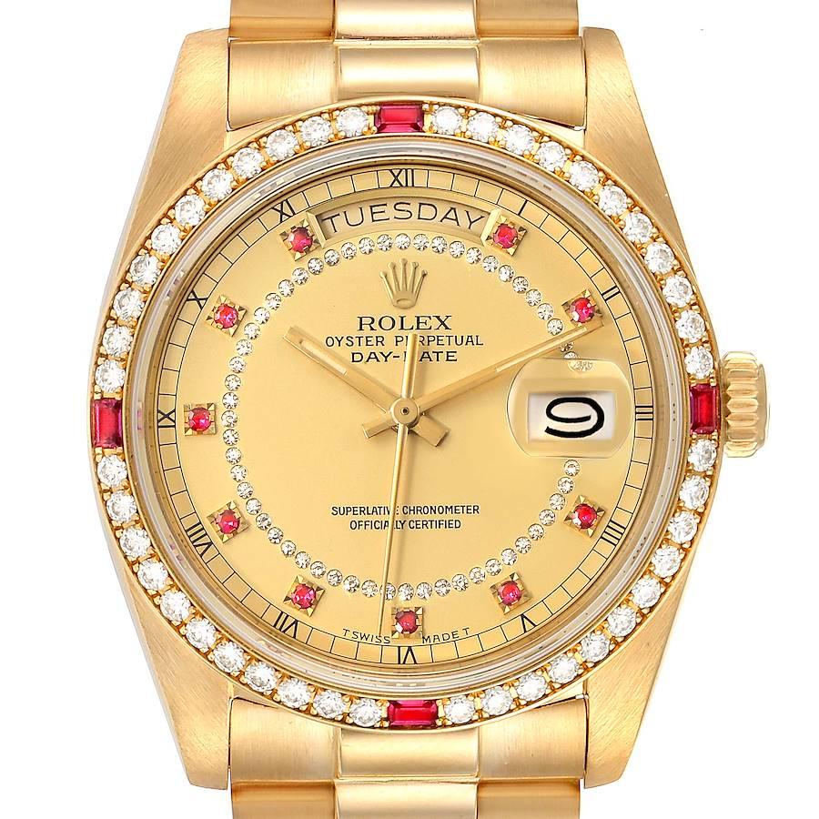 Rolex President Day-Date Yellow Gold String Diamond Ruby Dial Watch 18148 SwissWatchExpo
