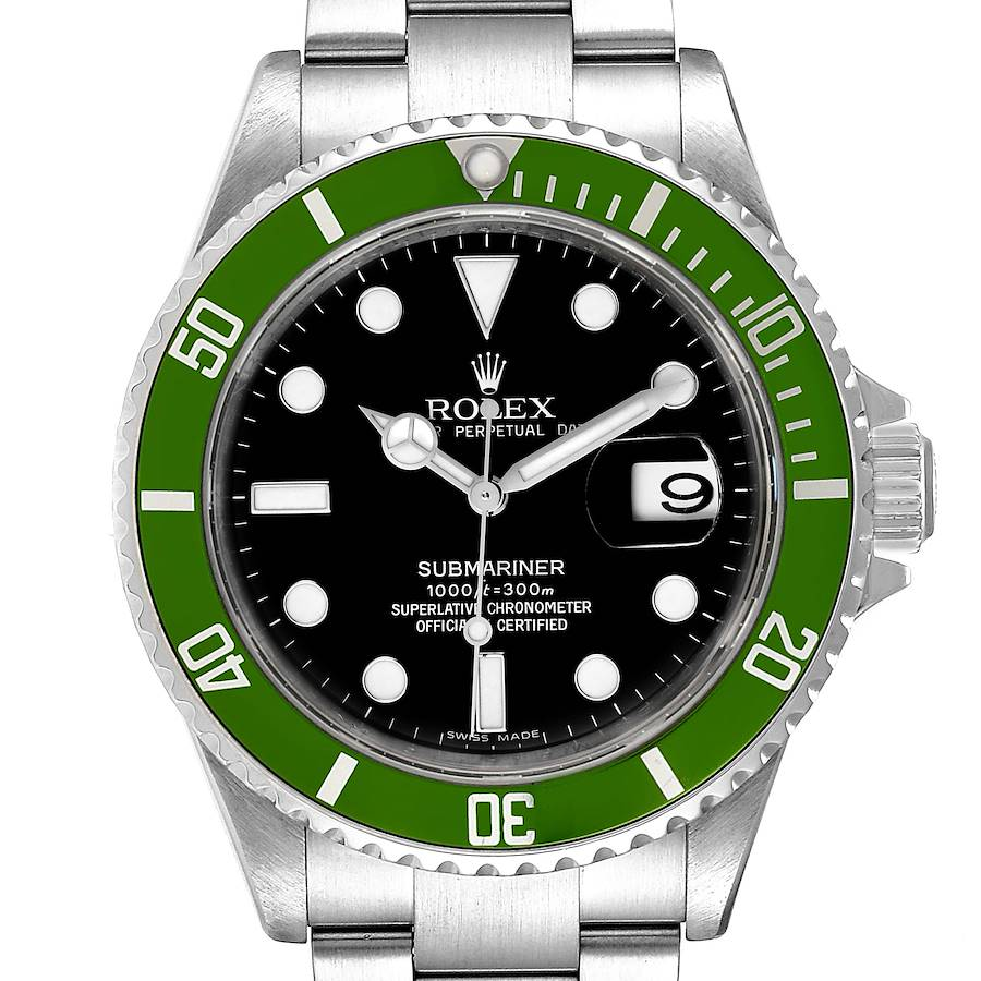 Rolex Submariner Green 50th Anniversary Mens Watch 16610LV Box Card SwissWatchExpo