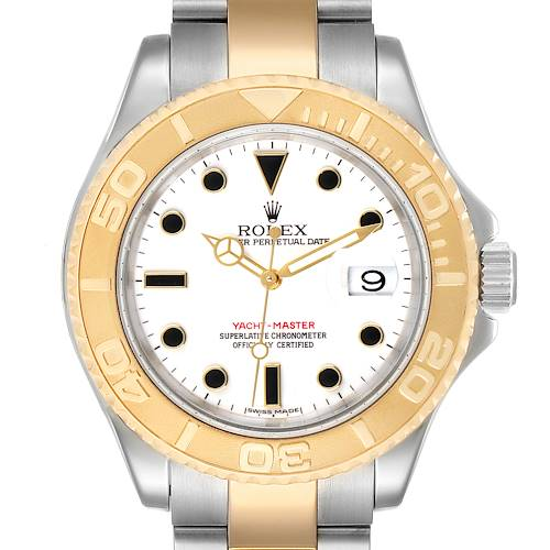 Rolex Yachtmaster White Dial Steel Yellow Gold Mens Watch 16623 Box