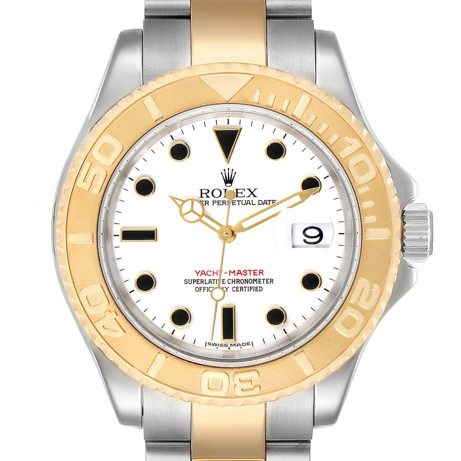 Rolex Yachtmaster White Dial Steel Yellow Gold Mens Watch 16623 Box SwissWatchExpo