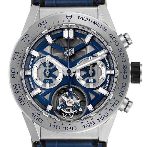 Photo of Tag Heuer Carrera Tourbillon Chronograph Titanium Mens Watch CAR5A8H